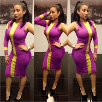 yellow/purple one sleeve Bodycon Dresses L2744-3