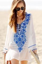 Deep V-neck Embroidered Beach Dress L38413