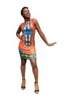 Ethnic Style Round Neck Sleeveless Totem Printed Mini Dress L280