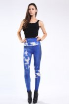 Blue White Galaxy Printed Leggings L8738