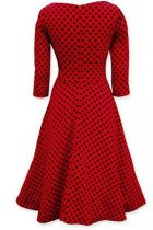 Vintage Slash Neck Bowknot Polka Dot Skater-dress L36069-1