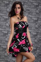 Hot Sale Plus Size Clubwear Red Flower L2506-1