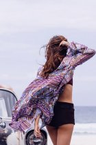 Purple Chiffon Printed Beach Cover-Ups L38423