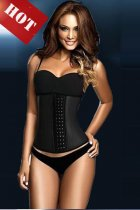 100% Latex Black Steel Boned Corset L42625