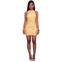 Maeva Lace Overlay Yellow Mock Neck Mini Dress 28227-2
