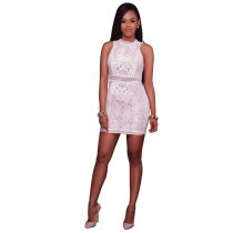 Maeva Lace Overlay Ivory Mock Neck Mini Dress 28227-1