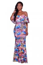 Veronique Blue Multi-Color Floral Print Off-The-Shoulder Maxi Dress 51404