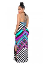 Fuchsia Tribal Print Halter Backless Slit Sexy Bodycon Maxi Dress 51408-2
