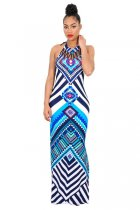 Blue Tribal Print Halter Backless Slit Sexy Bodycon Maxi Dress 51408-1