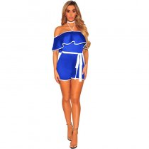 Blue White Ruffle Off Shoulder Belted Romper L55328-1