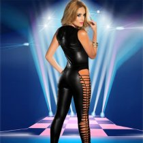 Black Sleeveless PVC Jumpsuit 55337