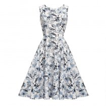 Leaf Print Sleeveless Vintage Dress 36185-1
