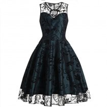 Floral Tulle Sleeveless Vintage Dress 36188-2