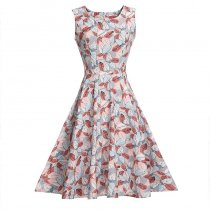 Leaf Print Sleeveless Vintage Dress 36185-2