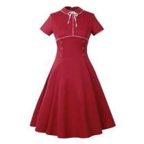 Peter Pan Collar Buttoned Vintage Dress 36197