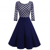Women's 1950'S Vintage Polka Dot Optical Illusion 2/3 Sleeve Casual Swing Dress 36152-2