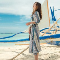 Chiffon Printed Long Sleeve Beach Dress 384941