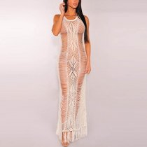 Sleeveless Tassel Crochet Cover-Up Dress 38495