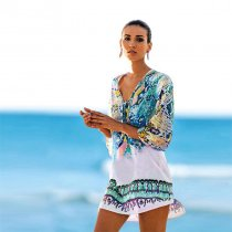 Serpentine Print Hi-lo Hem Beach Cover-ups Sundresses 384947-2