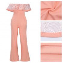 Clarisse Embroidery Ruffle Top Strapless Jumpsuit 55346-3