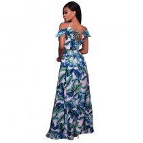 Ketia Off-White Green Leaf Print Ruffle Maxi Dress 51431-1