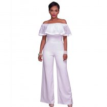 Clarisse White Embroidery Ruffle Top Strapless Jumpsuit 55346-1