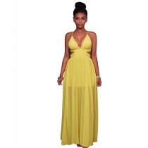 Aliza Neon Yellow CutOut Maxi Dress 51430-1