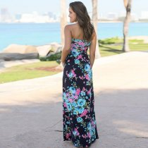 Blue Floral Maxi Dress with Pockets 5010-1