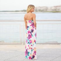 Pink Floral Maxi Dress with Pockets 5010-2