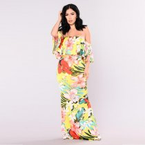 Tropical Lover Dress - Yellow 5016-1