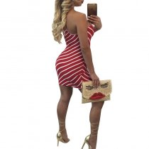 Striped Open Back Mini Dress 2006-1