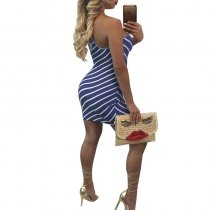 Striped Open Back Mini Dress 2006-3