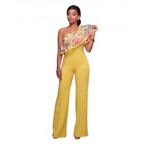 Felicia Yellow One Shoulder Ruffle Jumpsuit 55352-2