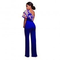 Felicia Blue One Shoulder Ruffle Jumpsuit 55352-1