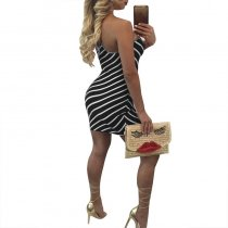 Striped Open Back Mini Dress 2006-2