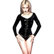 Black Wetlook Vinyl Leather Long Sleeve Bodycon Bodysuit 60814