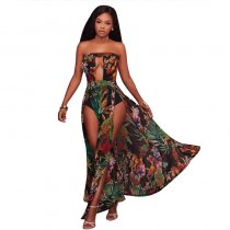 Marissa Black Printed High Slit Legs Bodysuit Maxi Dress 5019-2
