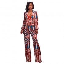 Meredith Burnt Orange Abstract Print Jumpsuit 55358-2