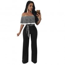 Cayenne Black White Stripes Ruffle Top Strapless Jumpsuit 55359-2