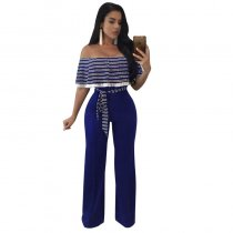 Cayenne Navy-Blue White Stripes Ruffle Top Strapless Jumpsuit 55359-4