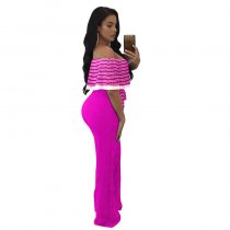 Plus Size Cayenne Rhodo White Stripes Ruffle Top Strapless Jumpsuit 55359-1