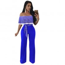 Cayenne Blue White Stripes Ruffle Top Strapless Jumpsuit 55359-3