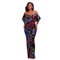 Francoise Black Multi-Color Floral Print Off-The-Shoulder Maxi Dress 5023-3