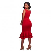 Layla Red Mermaid Shape Ruffle Midi Dress 36032-3