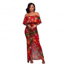 Francoise Red Multi-Color Floral Print Off-The-Shoulder Maxi Dress 5023-2