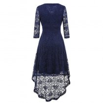 Temperament V-collar Lace Dress
