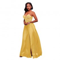 Anique Yellow Lace Top Padded Slit Maxi Dress