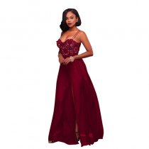 Anique Wine Red Lace Top Padded Slit Maxi Dress
