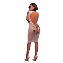 Jordan Nude Gold Sequined Mesh Fitted Dress