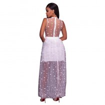 Janika White Gauzy Star Printed Maxi Dress